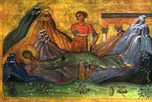 La vierge Hermione décapitée flotte miraculeusement dans l'espace. Manuscrit du «Ménologe de BasileII». XIè. Rome, Bibliothèque vaticane