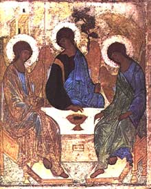 Andrei Roublev: icône de la Trinité. 1410. Ecole de Novgorod