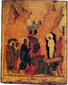 Andreï Roublev: La Résurrection de Lazare. Eglise Saint-Nicolas du village de Gostinopolié