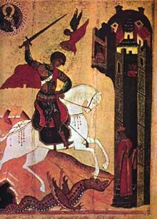 Ecole de Novgorod: Saint Georges et le dragon. XVè. Moscou, galerie Tretiakov