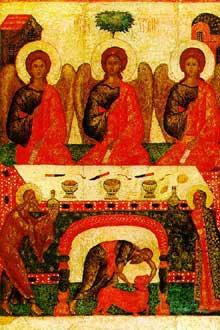 Ecole de Pskov: la Trinité de l'Ancien testament. XVè