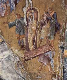 Mistra: la dormition de la Vierge. Fresque de la Pantanassa
