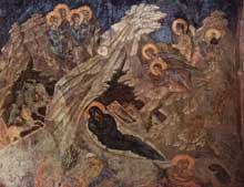 Mistra: la nativité du Christ. Fresque de l'église Péribleptos