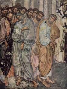Sopocani en Serbie: fresque de la dormition du monastère. XIIIè. Détail: saint Pierre et les Apôtres