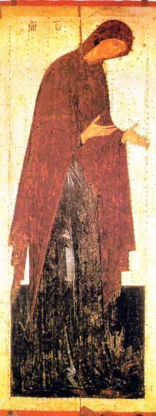 Maitre Denis: la Vierge. Eglise de la nativité de la Vierge; monastère de Theraponte, Moscou, 1502