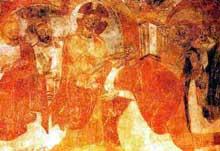 Abbaye Saint Jean des Sœurs de Müstair dans les Grisons. Vue générale. IX-Xè. Le Christ guérit un sourd muet