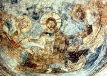 Abbaye Saint Jean des Sœurs de Müstair dans les Grisons. Vue générale. IX-Xè. Fresque du Christ avec Pierre et Paul