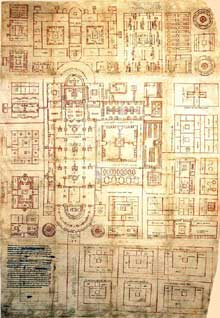 Abbaye de Saint Gall: plan de l'abbaye provenant de la Reichenau, début du IXè