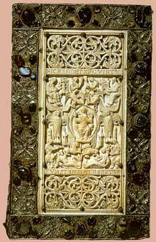Evangelium longum de Saint Gall: plaque en ivoire réalisée par le moine Tuotilo vers 894