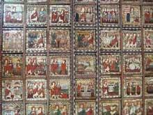 Zillis près de Coire, dans les Grisons: plafond de l'église saint Martin. Seconde moitié du XIIè. Panneaux de bois d'environ 90cm de côtés
