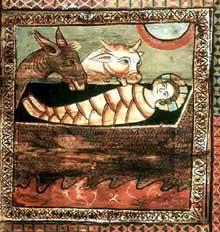 Zillis près de Coire, dans les Grisons: plafond de l'église saint Martin. Seconde moitié du XIIè. Panneaux de bois d'environ 90cm de côtés. Détail: la nativité