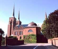 Roskilde au Danemark, la cathédrale. Vue générale