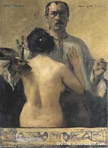 Lovis Corinth (1858-1925): Autoportrait avec nu de dos. 1903. Huile sur toile, 101 x 90 cm. Zürich, Kunsthaus