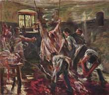 Lovis Corinth (1858-1925): à l'abattoir. 1893. Huile sur toile, 78 x 89cm. Stuttgart, Staatsgalerie