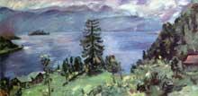 Lovis Corinth (1858-1925): panorama sur le lac de Walchen. 1924. Huile sur toile, 200 x 100cm. Cologne, Wallraf-Richartz-Museum