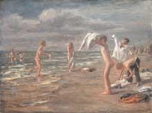 Max Liebermann (1847-1935): garcons se baignant. Huile sur toile, 112,5 x 152 cm. Muniche, Neue Pinakothek