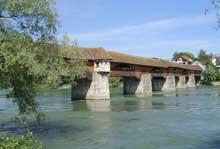 Bad Säckingen en amont de Bâle, côté allemand: pont en bois sur le Rhin, 1785