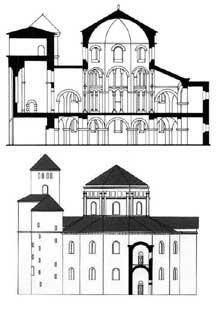 Aix la Chapelle: la chapelle palatiale: coupe