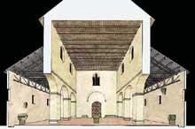 Lorsch: restitution en coupe de l'église abbatiale