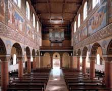 Eglise saint Georges d'Oberzell sur l'île de la Reichenau, lac de Constance. Vue de l'intérieur depuis le choeur.