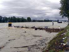 Breisach (Vieu Brisach): crue du Rhin en août 2007