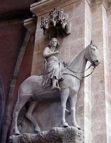 Bamberg, le Dom: le célèbre chevalier de la façade occidentale