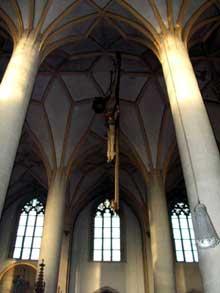 Eglise halle ou «Hallenkirche» saint Jean de Dingolfing en Bavière, vallée de l'Isar. (Histoire de l'art - Quattrocento