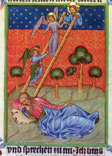 La Bible de Wenceslas: le songe de Jacob. Vers 1390-13955, Vienne, Bibliothèque Nationale