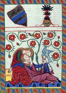«Du Bist Min»: Minnesänger allemand. Extrait du «Codex Mannesse» (Manessesche Liederhandschrift), début du XIVè, université de Heidelberg