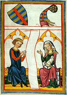 Le Minnesänger alsacien Reinmar de Haguenau. Extrait du «Codex Mannesse» (Manessesche Liederhandschrift), début du XIVè, université de Heidelberg