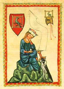 Le Minnesänger Walther von der Vogelweide. Extrait du «Codex Mannesse» (Manessesche Liederhandschrift), début du XIVè, université de Heidelberg