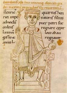 L'empereur Henri IV sur son trône. Enluminure pour le manuscrit «Ekkehardi historia» (vers 1113) Corpus Christi College, Cambridg