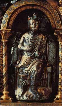 Aix la Chapelle: châsse de Charlemagne. Détail: l'empereur Frédéric II Hohenstaufen (1215-1250