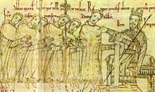 Otton le Grand accorde à l'évêque Fulbert le droit de battre monnaie à Cambrai. Miniature du XIIIe s. Paris, BNF