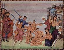 Page du Codex Egbert, archevêque de Trèves. Le massacre des innocents. Ecole de la Reichenau. Trèves, bibliothèque municipale
