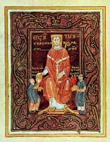 Page du Codex Egbert, archevêque de Trèves. Ecole de la Reichenau. Trèves, bibliothèque municipale