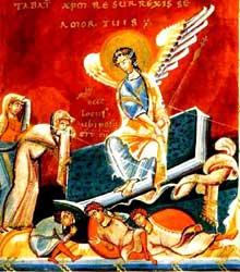 Sacramentaire de Géréon de Cologne: les femmes au tombeau. Parchemin. Fin du Xè. Paris, BNF