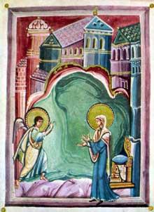 Sacramentaire de Géréon de Cologne: l'annonciation. Parchemin. Fin du Xè. Paris, BNF