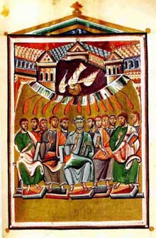 Sacramentaire de Géréon de Cologne: la pentecôte. Parchemin. Fin du Xè. Paris, BNF