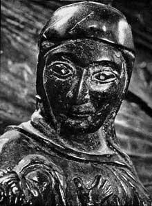Hildesheim: la porte de Bronze de l'évêque Bernward: tête d'Eve. 1015