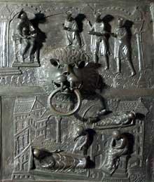 Hildesheim: la porte de Bronze de l'évêque Bernward: nativité et adoration des mages. 1015