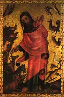 Meister Bertram (Maître Bertram de Minden) (1345-1415): Scènes de la vie du Christ. Retable de Saint Pierre de Grabow. Hambourg, Kunsthalle; Détail: panneau de la création des animaux