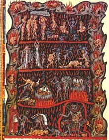 L'Hortus Deliciarum d'Herrade de Landsberg, abbesse du mont Sainte Odile en Alsace. L'enfer. Fin XIIè. Strasbourg, Bibliothèque municipale