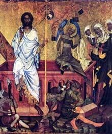 Le maître du retable de Vissy Brod. Panneau centrale du retable: la résurrection du Christ. Prague, Galerie Nationale
