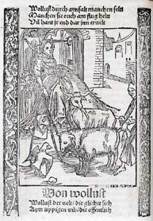 Sébastien Brand: gravure extraite du «Narrenschiff», la «Nef des fous». 1494. (Histoire de l'art - Quattrocento