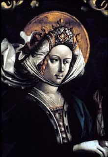 Pierre Hemmel d'Andlau (Né vers 1420): sainte Catherine. Détail d'un vitrail provenant de la cathédrale de Strasbourg. Vers 1470. Darmstadt, Hessisches Landesmuseum. (Histoire de l'art - Quattrocento