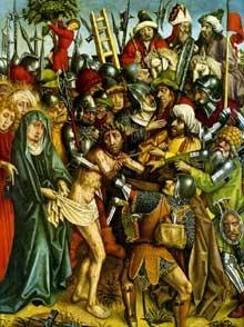 Hans Hirtz: scène de la passion du Christ. Panneau du retable de la Passion du Christ. Vers 1440. Huile sur panneau, 66 × 47 cm. Karlsruhe, Kunsthalle. (Histoire de l'art)