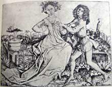 Maître E.S. (actif entre 1450 et 1467): couple dans le jardin d'amour. Vers 1460. Gravure sur cuivre. Vienne, l'Albertina. (Histoire de l'art - Quattrocento