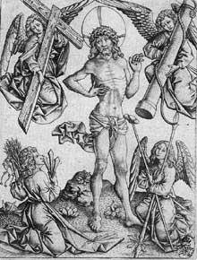 Maître E.S. (actif entre 1450 et 1467): le Christ des douleurs entre quatre anges. Vers 1460. Gravure sur cuivre, 151 x 113 mm. Dresde, Kupferstichkabinett. (Histoire de l'art - Quattrocento