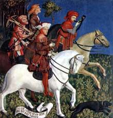 Maître du retable de Polling: le Prince Tassilon à la chasse. 1444, huile sur panneau de bois, 219 x 87,5 cm. Munich, Alte Pinakothek. (Histoire de l'art - Quattrocento